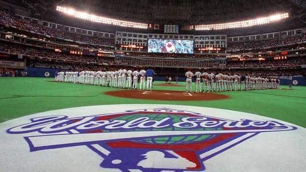 The Toronto SkyDome is decked out and ready as the Toronto Blue Jays and the Atlanta Braves prepare to face off in Game 3 of the 1992 World Series between the Tononto Blue Jays and the Atlanta Braves on Oct 20, 1992. Wednesday is the 20th anniversary of Toronto's first World Series win.