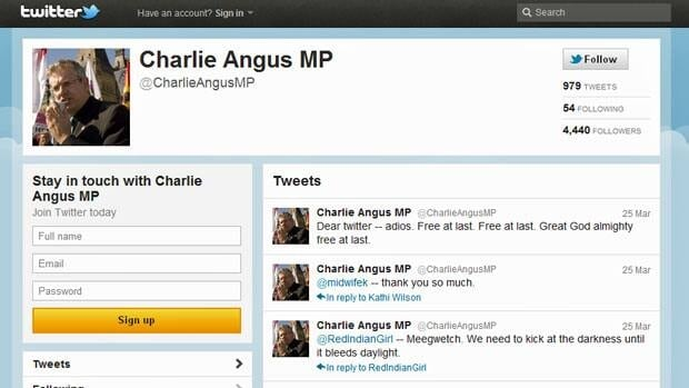 Charlie Angus Quits Twitter Over 'ugly' Tweets