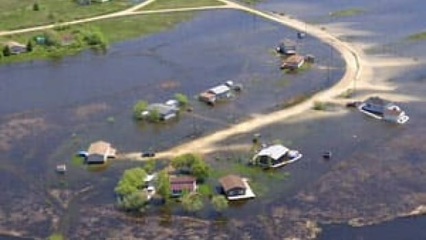 An aerial view shows the extent of flooding in the St. Laurent area June 1.