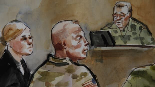 In this courtroom sketch, U.S. Army Staff Sgt. Robert Bales, centre, is shown Monday during a preliminary hearing in a military courtroom. He's accused of 16 counts of premeditated murder and six counts of attempted murder for a pre-dawn attack on villages in Afghanistan in March. At right is investigating officer Col. Lee Deneke, and at left is Bales' attorney, Emma Scanlan.
