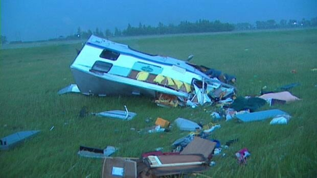 People at the scene said no one was inside the camper when it was blown into the centre median during a storm.