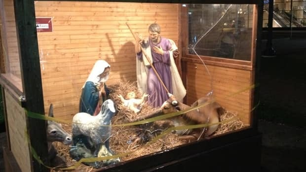 A statue was broken and plexiglass damaged after vandals attacked a nativity scene at Old City Hall.