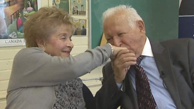 Toronto couple Howard and Nancy Kleinberg met at a concentration camp during the holocaust, when Nancy saved his life. The two later found each other again in Toronto after the war, married, had four children, nearly a dozen grandchildren, and two great grandchildren.