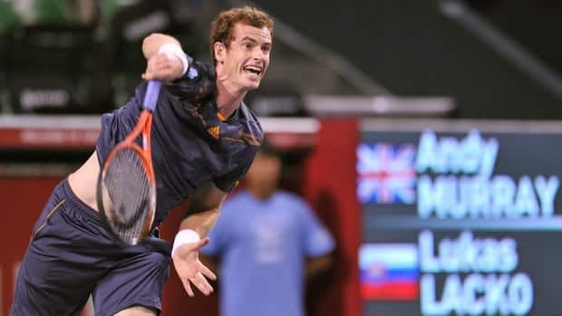 Andy Murray serves to Lukas Lacko during their second-round match in Tokyo.