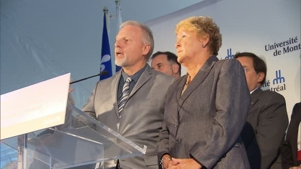 Premier Pauline Marois and the minister responsible for Montreal, Jean-François Lisée, announce provincial funding for the University of Montreal's new science campus.