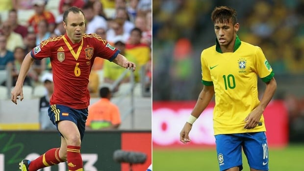 Playmaker Andres Iniesta, left, will lead Spain in the middle of the field, while soccer prodigy Neymar is the reference in attack for Brazil.