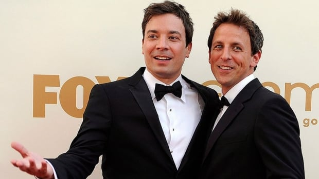 Saturday Night Live alumnus Jimmy Fallon, left, will be replaced as host of Late Night by his former co-star Seth Meyers when Fallon moves up to be Jay Leno's replacement on Tonight.
