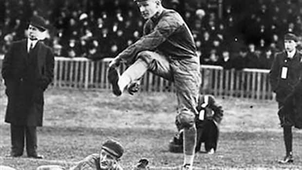 Parkdale Collegiate grad Hugh Gall, seen here kicking the ball during the 1910 Grey Cup, was the star player during the first Grey Cup in 1909 playing for the University of Toronto.