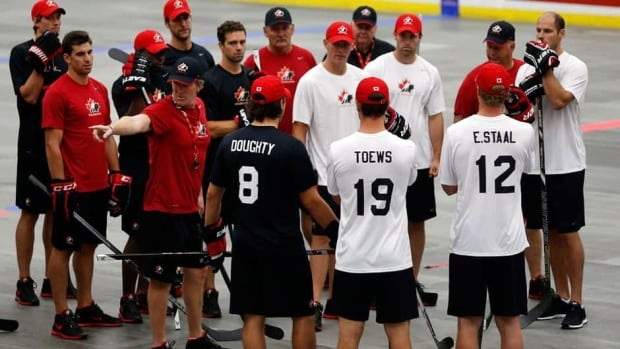 Players gather around coach Mike Babcock at Monday's ball-hockey exercises in Calgary.