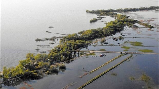 A bird's-eye view shows flood damage at Twin Lakes Beach, along the south shore of Lake Manitoba, in early June 2011.
