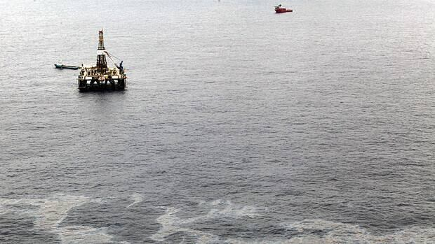 An aerial view of an offshore drilling rig.
