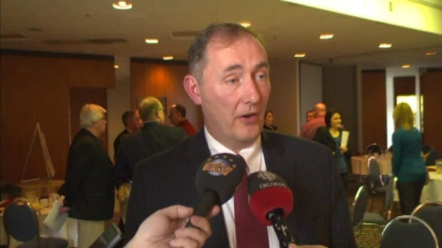 David Murray, the CEO of Black Spruce Exploration, spoke with reporters after his talk to the members of the greater Corner Brook Board of Trade.