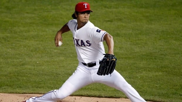 Texas Rangers starting pitcher Yu Darvish went 16-9 with a 3.90 ERA and 221 strikeouts in 191 1-3 innings this season.