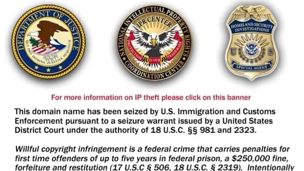 A screen shot of the notice that appears on TVShack.net, a website that aggregated links to shared TV and movie files that U.S. authorities shut down over alleged copyright infringement.
