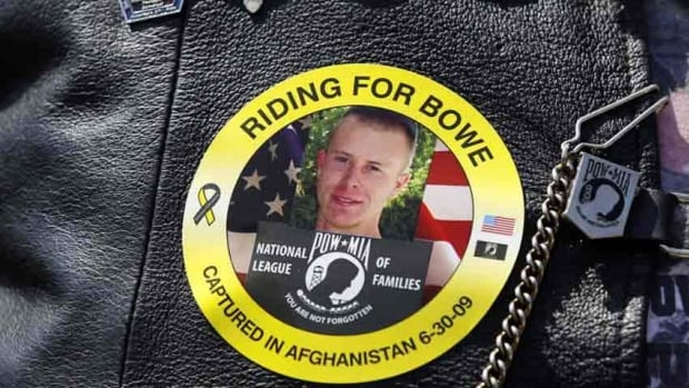 The image of Army Sgt. Bowe Bergdahl of Hailey, Idaho, who is being held captive in Afghanistan, is worn by an audience member as Bergdahl's father Bob, not pictured, speaks at a 2012 rally for POW/MIA awareness.