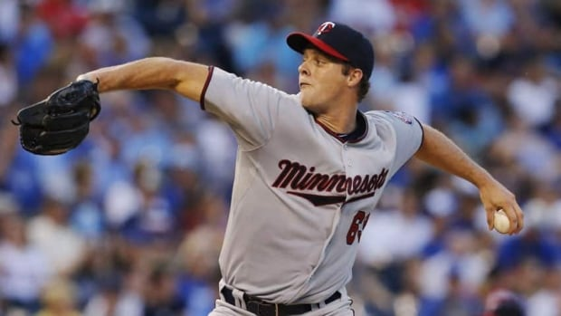 Minnesota Twins starting pitcher Andrew Albers delivers to a Kansas City Royals batter during the third inning of his MLB debut in Kansas City on Aug. 6.