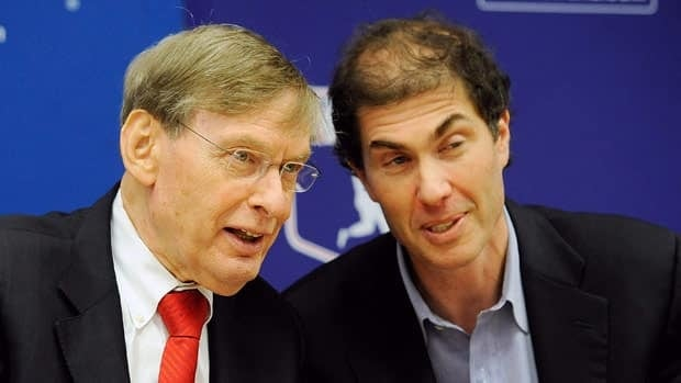 Major League Baseball Players Association Executive Director Michael Weiner, right, seen with commissioner Bud Selin in 2011, met with members of the Toronto Blue Jays on Monday.