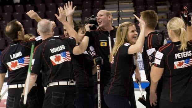 Team North America celebrates after capturing the Continental Cup of Curling over Team World in Penticton, B.C., on Sunday.