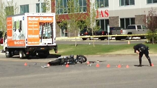 A man in his 40s was pronounced dead at the scene after a motorcycle collided with a delivery truck in Calgary's southeast.