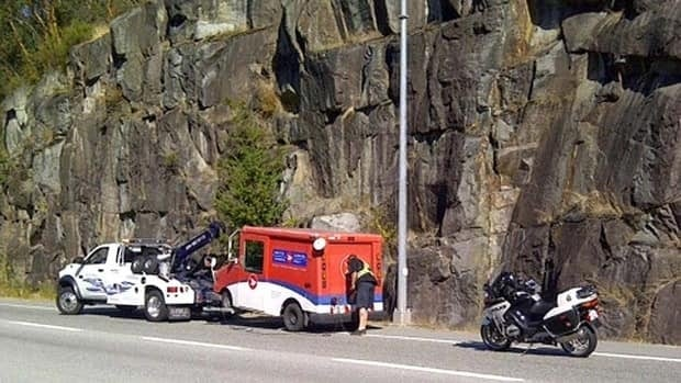 The mail truck was pulled over Monday afternoon.