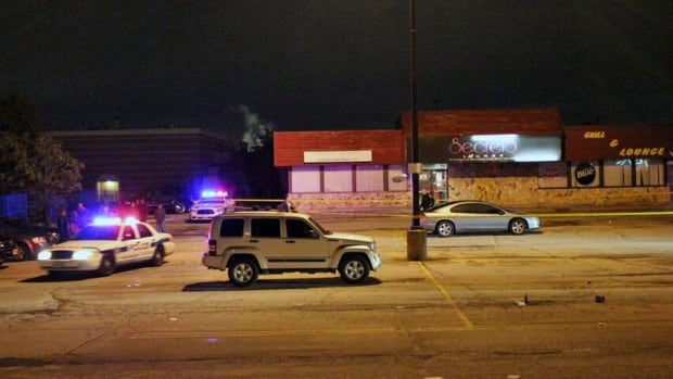 A bouncer was shot in the foot and another victim was injured by a bottle early Monday outside the Secrets Lounge in Brampton.