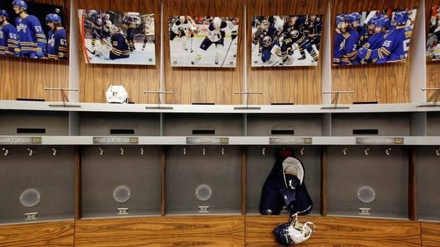Locker rooms, such as this one in Buffalo, could be a bustle of activity within the next week or so if the NHL lockout is lifted.