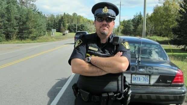 Ontario Provincial Police Constable David White looked for speeding drivers on Lakeshore Drive on Sunday.