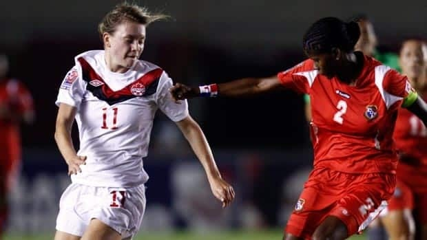 Canada's Jenna Richardson, left, carries the ball in a CONCACAF match in Panama in March.