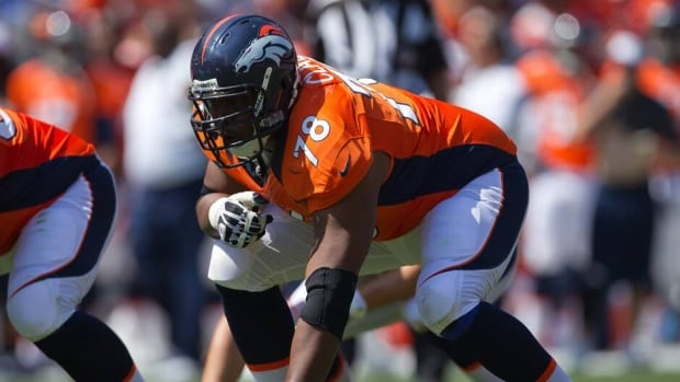 Ryan Clady in action during a pre-season game against the San Francisco 49ers at Sports Authority Field on August 26, 2012 in Denver, Colorado.
