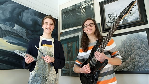 Josh, 17, (left) and Zac Tiessen, 16, stand in the elder brother's painting studio in their family's Stoney Creek, Ont. home.