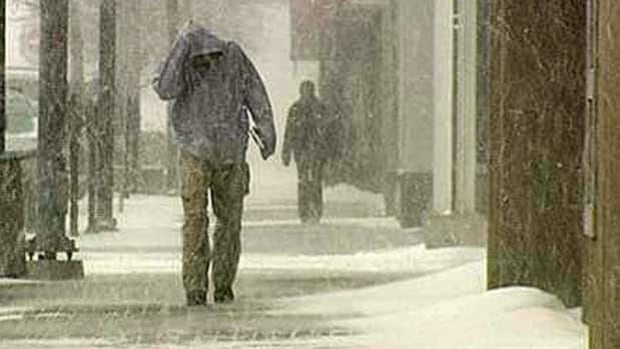 A blast of winter overtook a good chunk of Ontario Friday, including Sudbury, where walking was made difficult by high winds and blowing snow.
