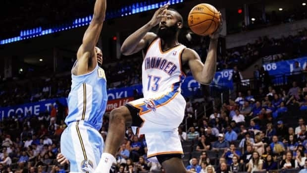 The Oklahoma City Thunder have traded shooting guard James Harden (13) to the Houston Rockets.