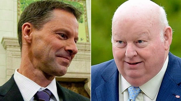 The RCMP is investigating a $90,000 cheque to Mike Duffy, right, from Nigel Wright, who at the time was the prime minister's chief of staff.