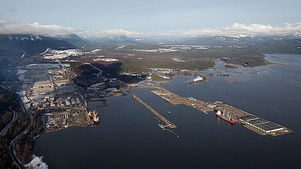 Douglas Channel, the proposed termination point for an oil pipeline in the Enbridge Northern Gateway project, is pictured in an aerial view in Kitimat, B.C., on Jan. 10, 2012.