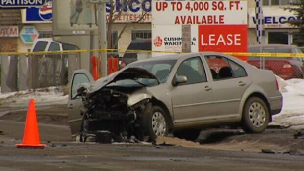 A woman died Thursday morning in this collision in south Edmonton.