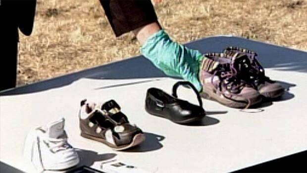 Victoria police put the children's shoes involved in the hoax on display on Thursday.
