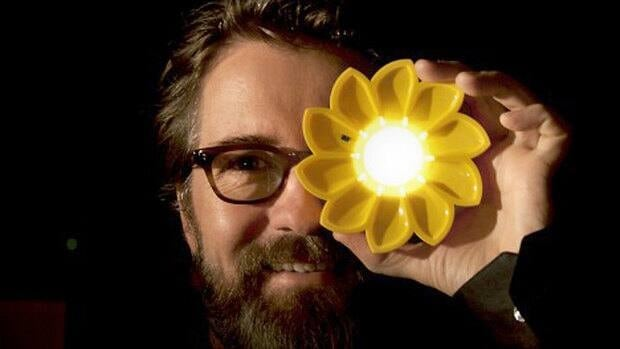 Artist Olafur Eliasson, pictured, teamed up with engineer Frederik Ottesen to develop the solar-powered Little Sun light.
