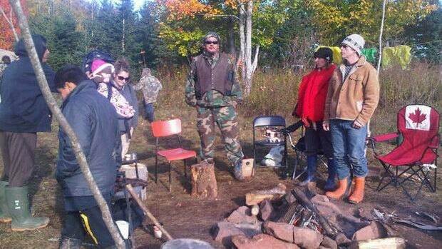 Warrior Chief Peter Bernard at a protest camp near Trans-Canada Highway construction west of Charlottetown.