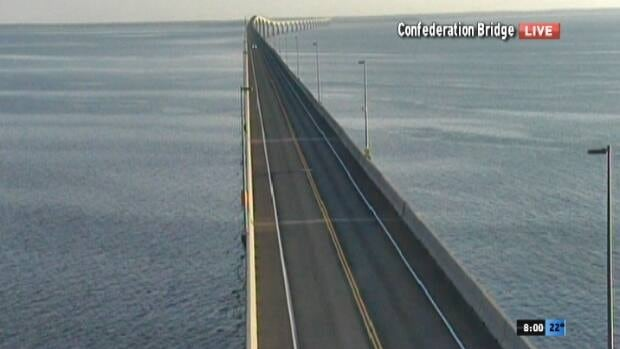 A shot of the Confederation Bridge Saturday night just prior to the closure.