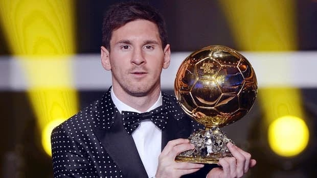 FC Barcelona striker Lionel Messi of Argentina poses after being awarded the FIFA Men's World Player of the Year during the FIFA Ballon d'Or Gala 2012 held at the Kongresshaus in Zurich, Switzerland on Monday.