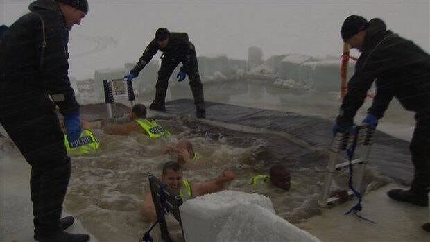 "About 30 police officers took part in this year's ""polar bear dip"" at the Pointe-Claire marina."