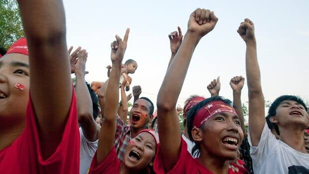 Increasing numbers of young people in Burma have come out in support of Aung San Suu Kyi, leader of the National League for Democracy, which is running in parliamentary elections on April 1.