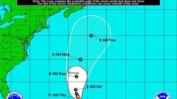 The cone indicates the probable path of the storm centre of Hurricane Leslie, but does not show the size of the storm. Hazardous conditions can occur outside of the cone.