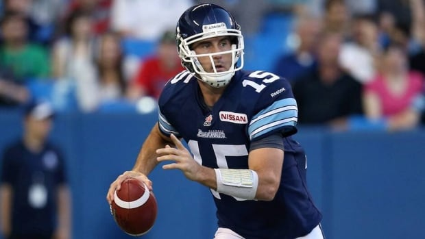 Ricky Ray of the Toronto Argonauts during a game against the Saskatchewan Roughriders on July 11, 2013 at Rogers Centre in Toronto.