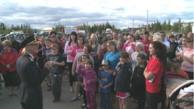 Royal Newfoundland Constabulary Insp. Paula Walsh addressed the crowd, after the rally concluded on the Wabush Shopping Centre parking lot.