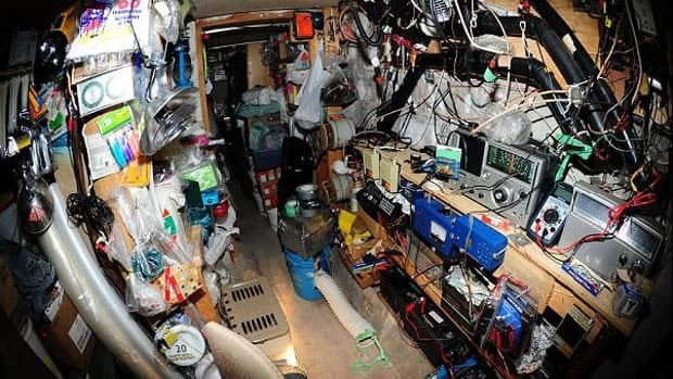 Police released this photograph of the interior of the bunker in the backyard of the Barrie, Ont., home where dozens of explosive devices have been found. (Barrie Police Service)
