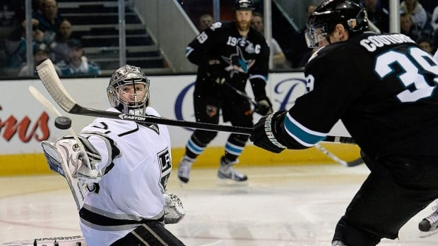 Sharks' Logan Couture has his shot deflected by Kings goalie Jonathan Quick in overtime in Game 3 of their Western Conference semifinal. San Jose defenceman Dan Boyle said executing plays will be key in Game 4 Tuesday.