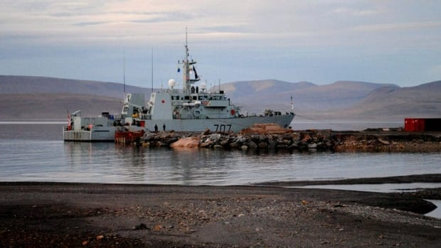 The HMCS Goose Bay is moored at the future site of the Nanisivik Naval Facility during the 2010 military Operation Nanook. The Nunavut Impact Review Board says the Nanisivik naval refuelling facility can go ahead without a full environmental review, with conditions.