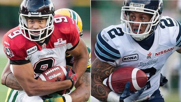 Stampeders' Jon Cornish, left, ran for a CFL-high 1,457 yards this season, becoming the first Canadian to lead the league in rushing since 1988. Argonauts slotback Chad Owens, right, set a pro football record of 3,863 all-purpose yards and also led the CFL in receiving.