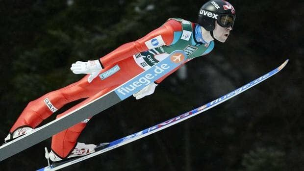Anders Jacobsen of Norway flies down the hill during the World Cup team competition on Sunday. Norway came back in the final round to win the title.
